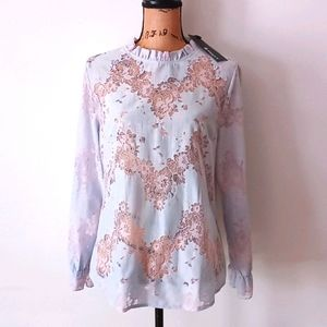 NEW! Allegra K Blue & Pink Lace See-Through Blouse